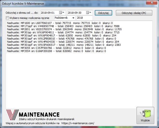 Odczyt liczników V-Maintenance